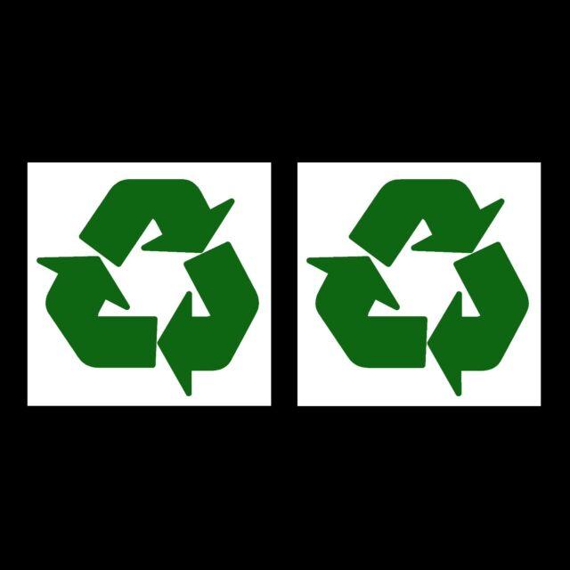 2 X Recycle Recycling Stickers Logo Symbol Vinyl Bin Stickers Ebay