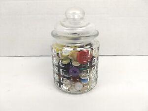 Button-Jar-Mixed-Lot-Glass-Apothecary-Jar-Small-5-034-Jar-Buttons-Sewing