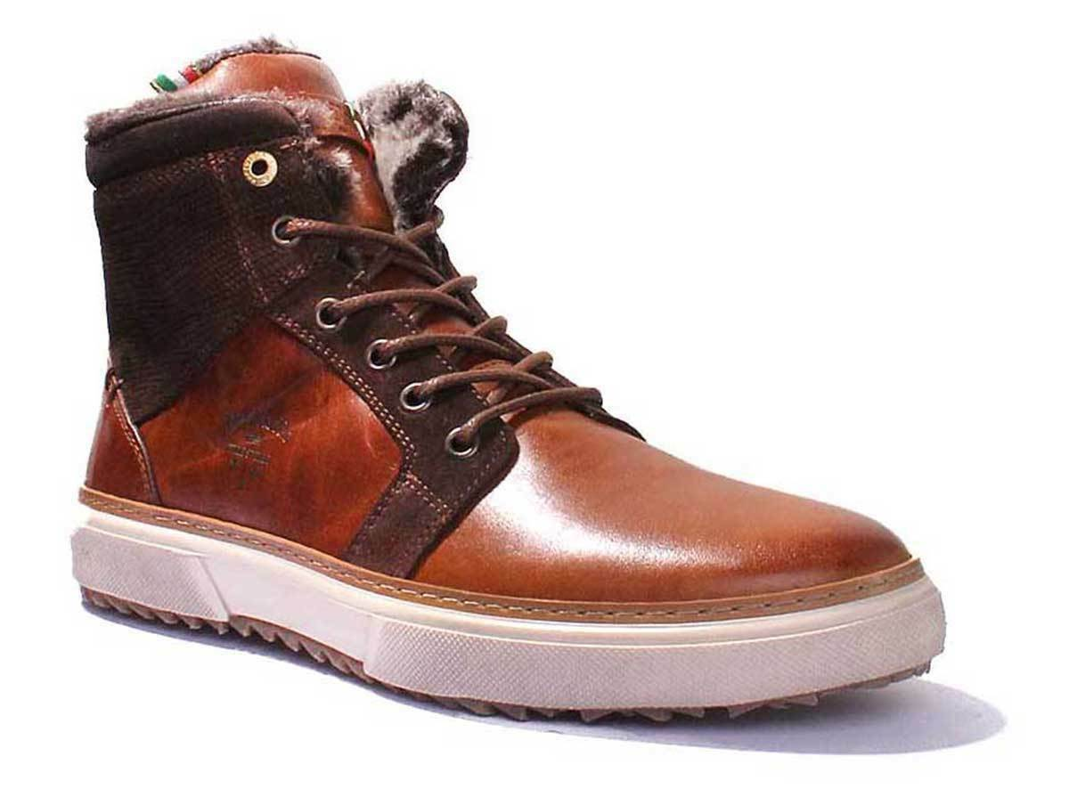 Pantofola d'Oro Benevento Uomo Fur Men Brown Tortoise Shell Leather Mid-Top Boot