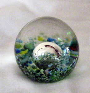 Blue Green & Yellow Splatter Cowdy Signed Art Glass Paperweight Bubble, UK