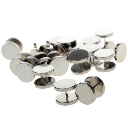 10Pcs en acier inoxydable Tricheur Faux oreille expender Plugs Gauges Transitions Gold Noir