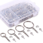 100Pcs Keychain Rings with Chain and Swpeet 300Pcs Sliver Key Chain Rings Kit