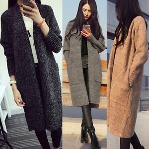 1276dd4a Women Loose Long Sleeve Sweater Knitted Cardigan Coat Jacket Outwear ...