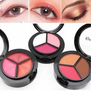 3-Colors-Box-Lidschatten-Palette-Glitzern-Eye-Shadow-Pulver-Beauty-Kosmetik