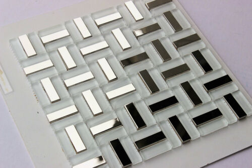 "/""ICEBERG/"" Ice White Glass Mosaic Tiles Silver Steel Metal Tile Bath Backsplash"