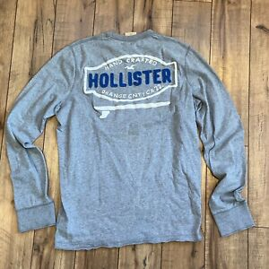 Hollister-Men-039-s-Large-Orange-County-Cali-Surf-embroider-Gray-Pullover-Sweatshirt