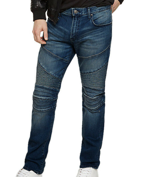 Express Mens Dark bluee Wash Slim Fit Skinny Leg Moto Jeans 36W x 34L 5922-5