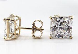 3-Ct-Princess-Cut-Lab-Diamond-Solid-Real-14K-Yellow-Gold-Stud-Earrings-Push-Back
