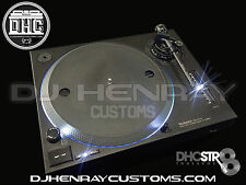 2 custom matte black Technics SL 1200 mk2's white leds halos dhc str8 tonearms