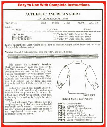 Mens Colonial Pioneer Authentic American Shirt S-XXL Eagle/'s View Sewing Pattern