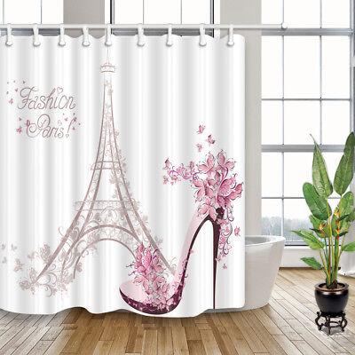Fashion Red High Heels in Black Waterproof Fabric Shower Curtain Bathroom 71in