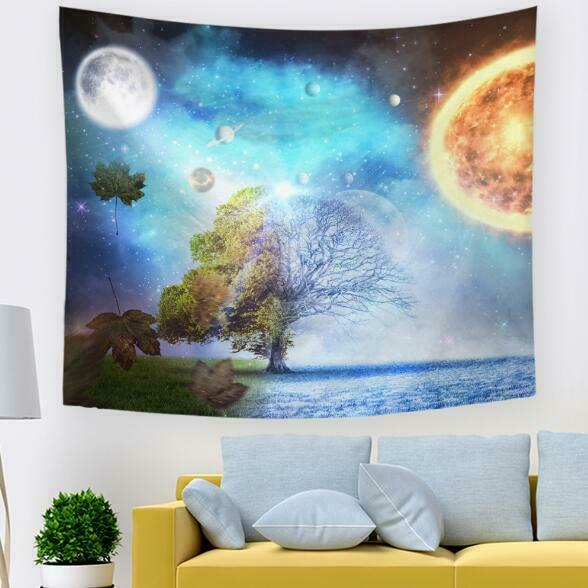 3D Planet Leaves N662 Tapestry Hanging Cloth Hang Wallpaper Mural Photo Amy