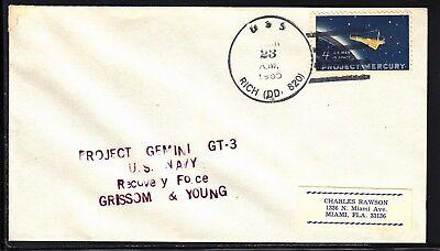 Space Raumfahrt Gemini 3 Bergung Nbs Zeilenstempel Uss Rich 23.03.65 Aromatischer Geschmack Briefmarken