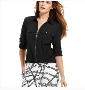 Michael-Kors-Womens-Black-Long-Tab-Sleeve-Zip-Front-Blouse-Top-Size-Small