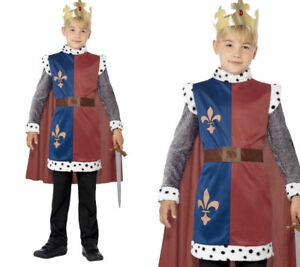 Boys-King-Arthur-Costume-World-Book-Day-Week-Medieval-Knight-Fancy-Dress-New