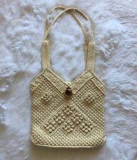 Vintage Wood Button Macrame Purse Crochet Handbag Bag Beige Inner pocket Boho