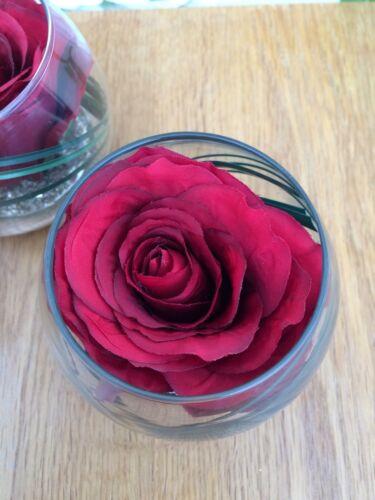 MODERN SET OF 3 RED ROSE /& GRASS ARTIFICIAL FLOWER ARRANGEMENTS IN GLASS BOWLS