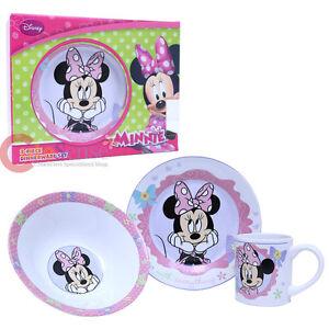 Image is loading Disney-Minnie-Mouse-3pc-Porcelain-Dinnerware-Set-Plate-  sc 1 st  eBay & Disney Minnie Mouse 3pc Porcelain Dinnerware Set Plate Cereal Bowl ...