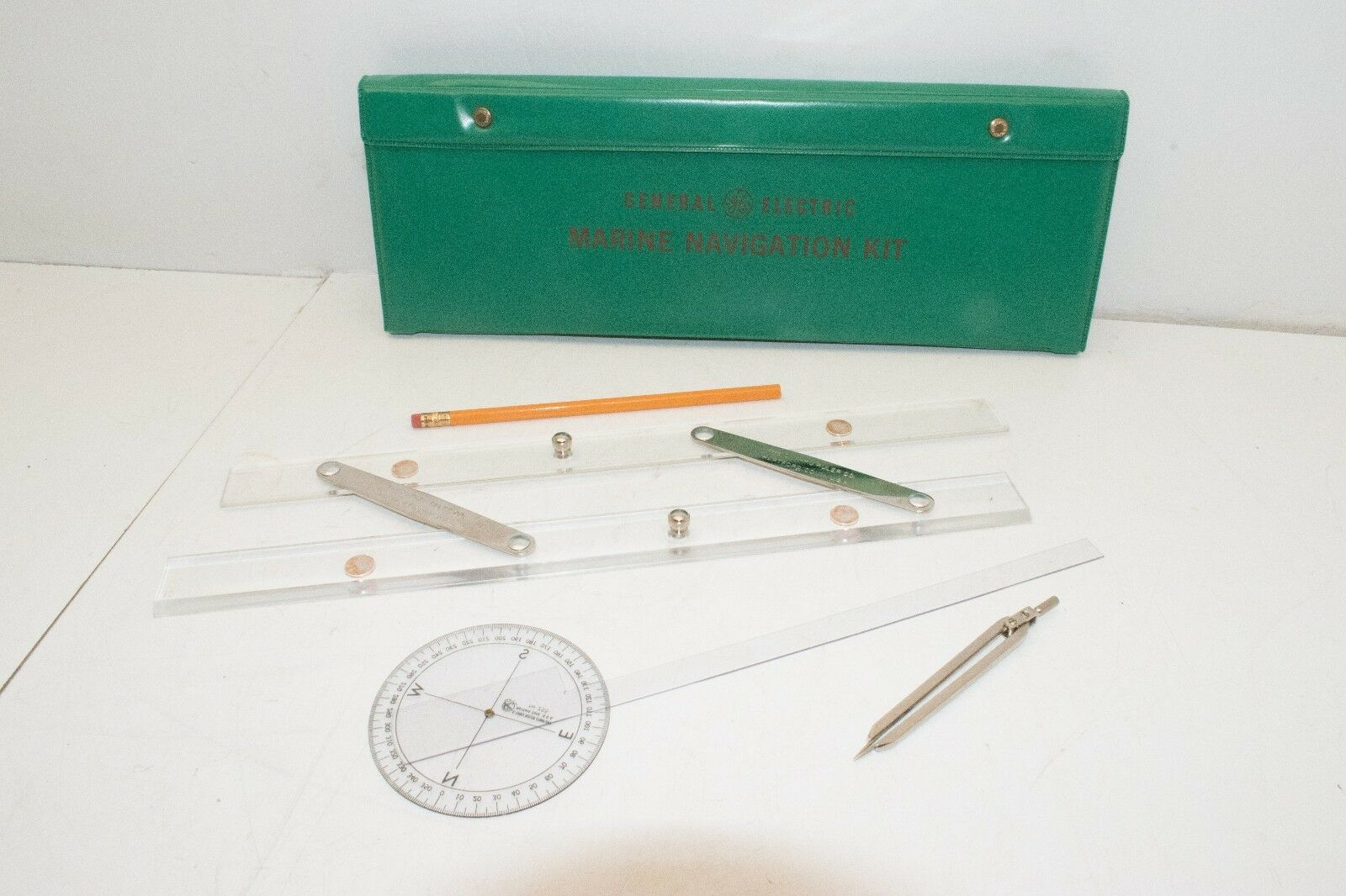 Vtg General Electric GE Marine Navigation Kit C-Thru Ruler w  Original Box
