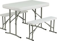 Plastic Folding Table And Benches - Table Set