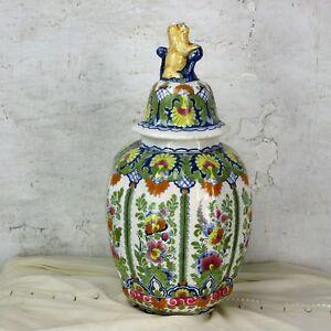 Vintage-Polychrome-OUD-Delft-Vase-Urn-Marked-Lidded-Vase-Foo-Dog-19-68-034