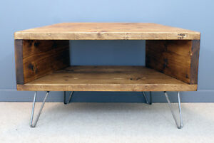 premium selection 4f299 db425 Details about RECLAIMED RETRO CORNER TV UNIT - HAIRPIN LEGS - OPTIONAL BACK