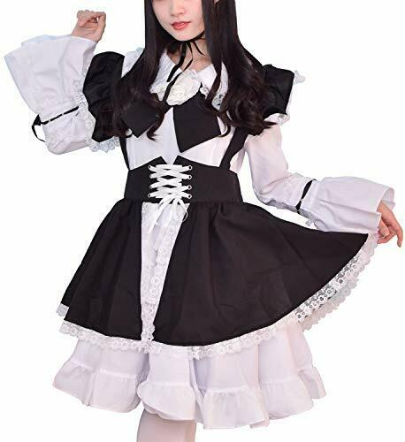 Gothic Witch Lolita Apron Dress Swallow-tailed Coat Maid Outfit Cosplay Costume