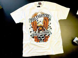 Foo-Fighters-Harley-Davidson-Skull-Eagle-S-S-White-T-shirt