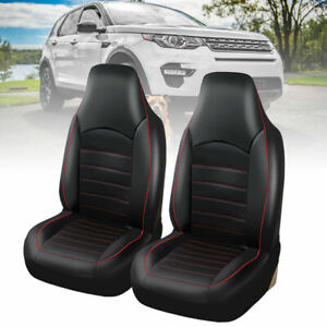 2X-Universal-Front-Car-Seat-Covers-Cushions-Protector-Washable-Pu-Leather-Black