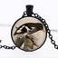 Pie pendentif en verre noir cabochon Chaîne Collier Sautoir Pendentif Wholesale