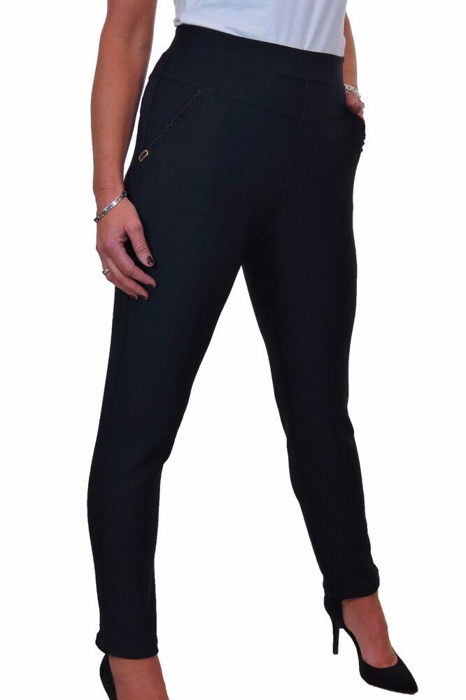 Frugal New High Rise Stretch Leggings Pantalons Taille Élastique Poches Latérales Noir 14-20 Une Grande VariéTé De Marchandises