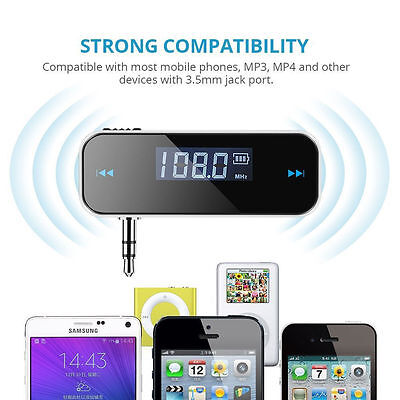 FM Transmitter In-Car Wireless 3.5mm Radio Adapter for Cell Phone Audio Players