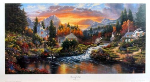 "Morning Sunlight  By Derk Hansen Church Stream House  Print  12/"" x 7.75/"""