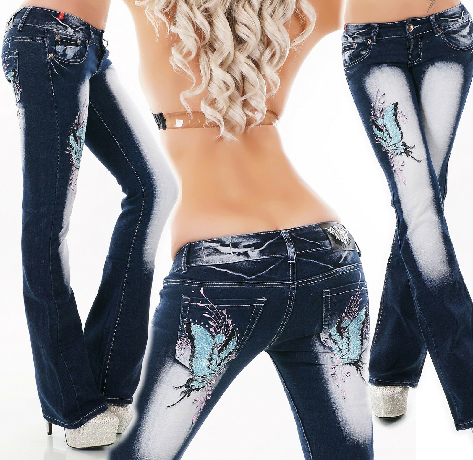 Crazy Age bluee Butterflies Bootcut Jeans - XS S M L XL