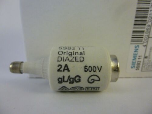 5x Siemens 5SB2 11 Diazed Sicherungseinsatz Fuse-link DII 2A 500V Neu OVP