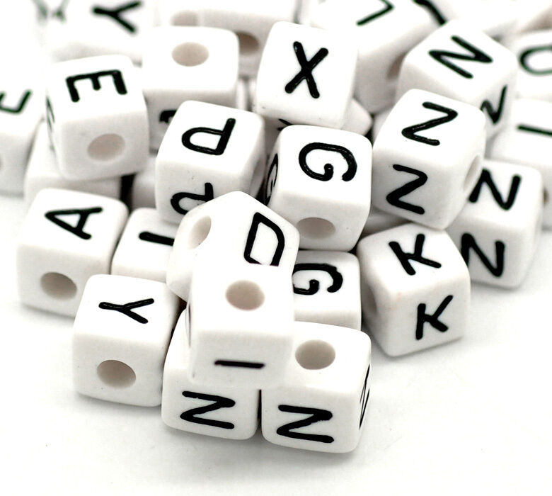 DIY 100pcs Cubic Acrylic Beads Silver Letter// Alphabet Spacer Beads 10X10mm