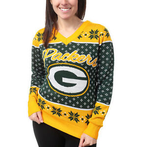 Green Bay Packers Womens Green Big Logo V Neck Ugly Christmas