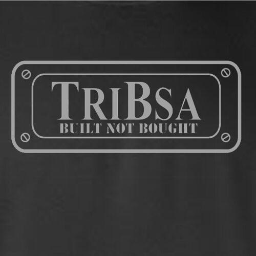 MOTORBIKE-TRIBSA-CAFE RACER-BUILT NOT BOUGHT-MOTORCYCLE-GREY LOGO-BLACK T-SHIRT