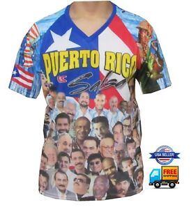 734096cae3d Details about NEW ALL STAR PUERTO RICO ES SALSA V-NECK SHORT SLEEVE JERSEY  SHIRT SUBLIMATION