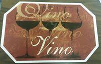 Set Of 4 Kitchen Vinyl Non Clear Placemats (18 X 12) 3 Wine Glasses, Vino
