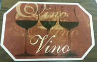 Set Of 4 Kitchen Vinyl Non Clear Placemats (18 X 12) 3 Wine Glasses, Vino