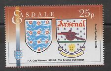 Arsenal Football Club and England badges on 1992-93 FA Cup Stamp. Fine MNH.