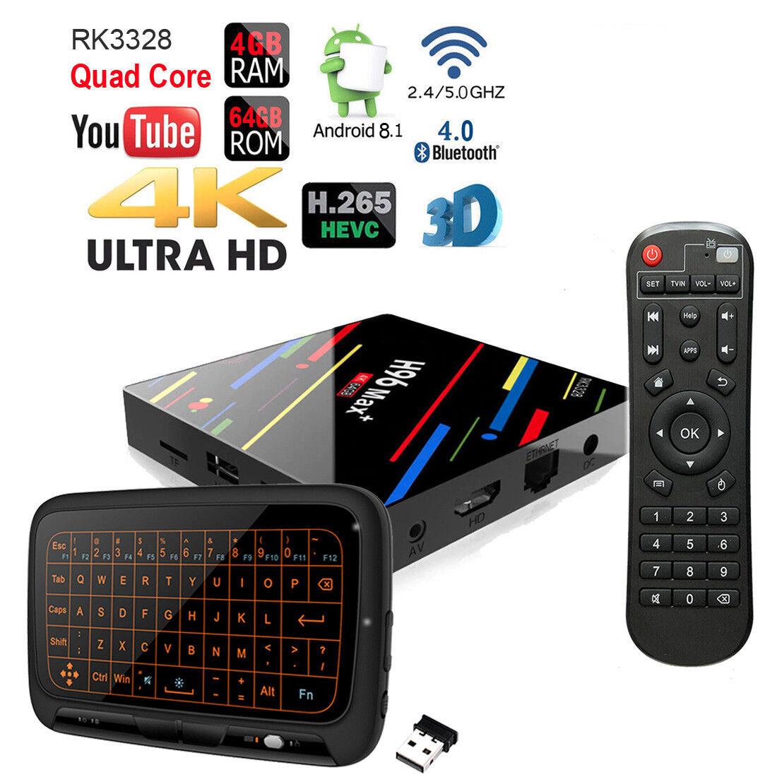 Quad Core H96 Max+ Plus 4GB 64GB Android 8.1 4K Dual Wi-Fi 5G Blautooth Tv Box