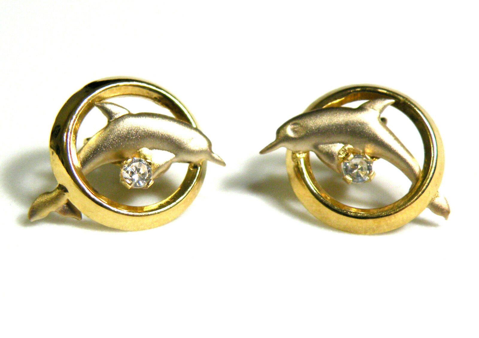 Estate 14K Yellow White gold Two-Tone Dolphin Clear Stone Post Earrings