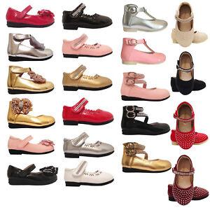 fe98ab0d Bebé Niña Boda Dama De Honor Zapatos de fiesta talla 12-18 18-24 ...
