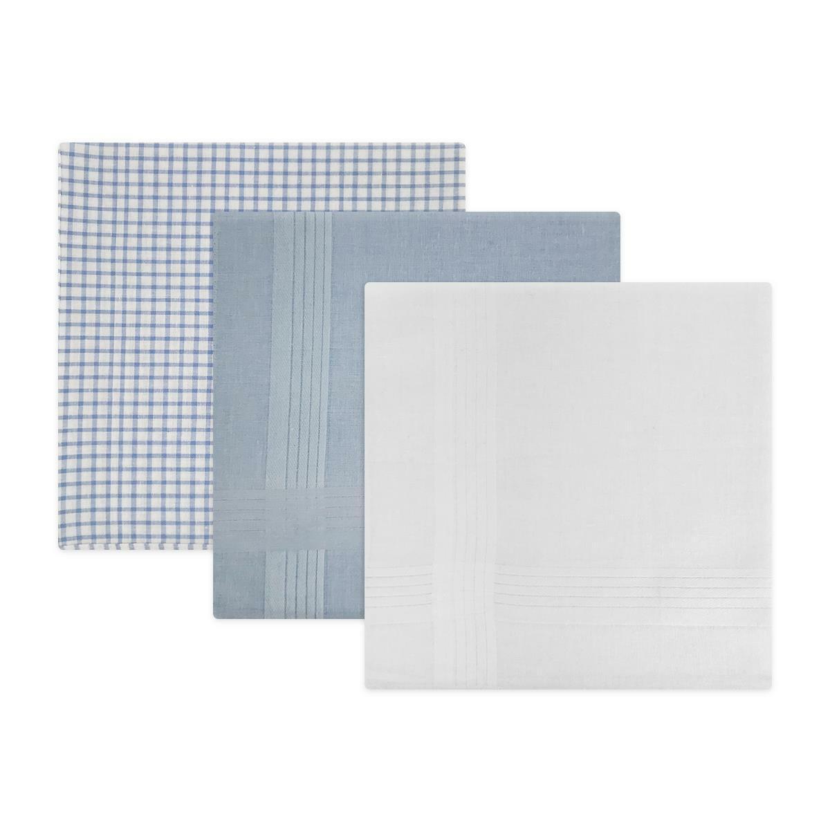Mens 100% Cotton Check Satin Stripe Design Handkerchiefs by Warwick & Vance