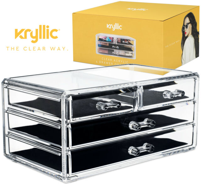 Acrylic Makeup And Jewelry Cosmetic Storage 4 Draw Organizer