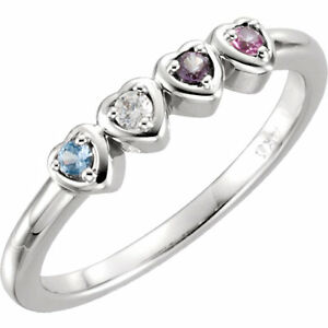 Mother S Day Jewelry Heart Ring Sterling Silver Birthstone Ring 1 5