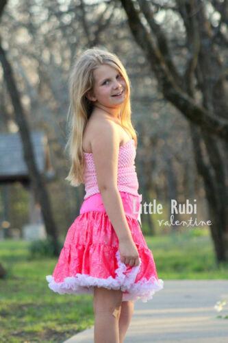new crochet tutu tube elastic top girl baby child flower girl teen light pink
