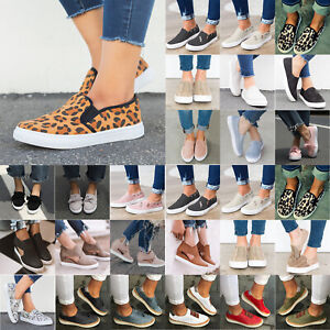 Womens-Slip-On-Flat-Trainers-Sneakers-Canvas-Loafers-Pumps-Casual-Comfy-Shoes